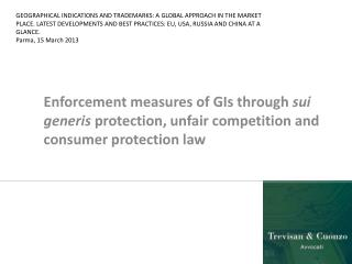 Sui generis  protection Unfair competition law Consumer protection law Advertising law