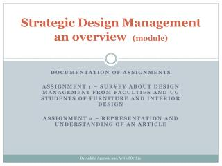 Strategic Design Management an overview   (module)