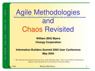 Agile Methodologies and Chaos  Revisited