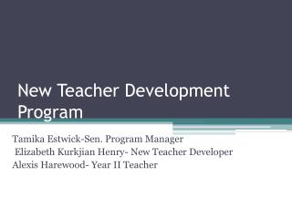 New Teacher Development Program