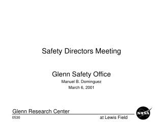 Safety Directors Meeting
