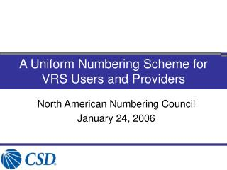 A Uniform Numbering Scheme for  VRS Users and Providers