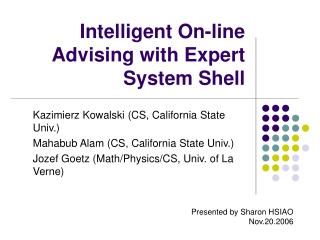 Intelligent On-line Advising with Expert System Shell