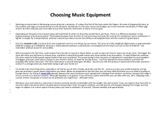 Choosing Music Equipment