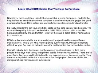 Learn What HDMI Cables that You Have To Purchase