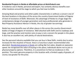 Residential Projects in Noida at Affordable Prices