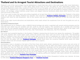Thailand and its Arrogant Tourist Attractions and Destinatio