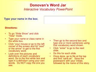 Donovan's Word Jar Interactive Vocabulary PowerPoint
