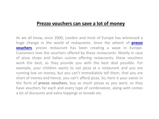 Prezzo vouchers can save a lot of money