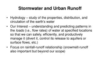 Stormwater and Urban Runoff