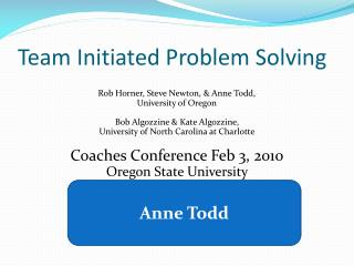 Team Initiated Problem Solving