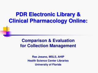 PDR Electronic Library & Clinical Pharmacology Online: