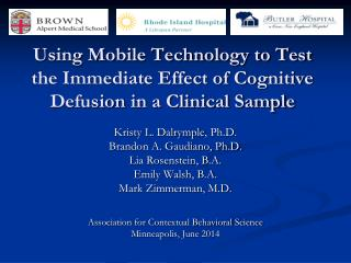 Using Mobile Technology to Test the Immediate Effect of Cognitive  Defusion  in a Clinical Sample
