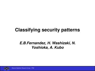 Classifying security patterns