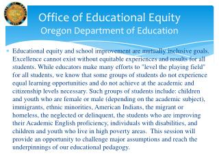 Office of Educational Equity Oregon Department of Education