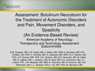 Assessment: Botulinum Neurotoxin for the Treatment of Autonomic Disorders and Pain, Movement Disorders, and Spasticity