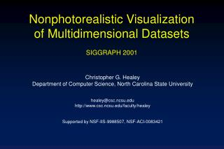 Nonphotorealistic Visualization of Multidimensional Datasets SIGGRAPH 2001
