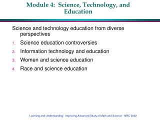 Module 4:  Science, Technology, and Education