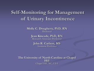 Self-Monitoring for Management of Urinary Incontinence