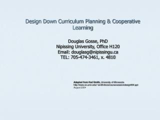 Design Down Curriculum Planning  Cooperative Learning