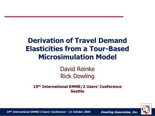 Derivation of Travel Demand Elasticities from a Tour-Based Microsimulation Model