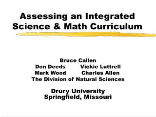 Assessing an Integrated Science & Math Curriculum