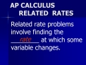 AP CALCULUS RELATED  RATES
