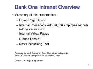 Bank One Intranet Overview