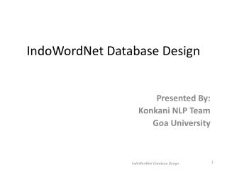 IndoWordNet  Database Design