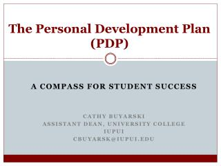 The Personal Development Plan (PDP)