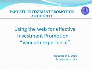 "Using the web for effective Investment Promotion – ""Vanuatu experience"""