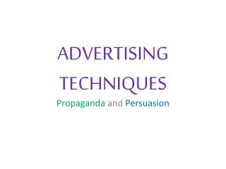 ADVERTISING TECHNIQUES