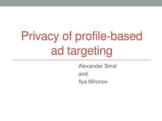 Privacy of profile-based ad targeting