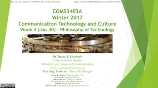 COMS3403A Winter 2017 Communication Technology and Culture