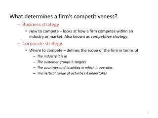 What determines a firm's competitiveness? Business strategy