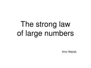 The strong law of large numbers
