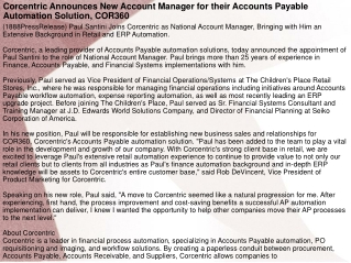 Corcentric Announces New Account Manager for their Accounts
