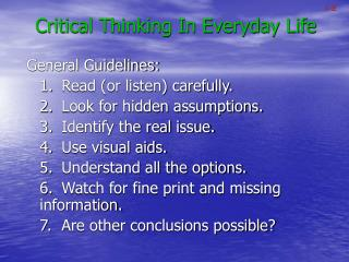 Critical Thinking In Everyday Life