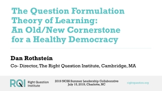 The Question Formulation Theory of Learning: An Old/New Cornerstone for a Healthy Democracy