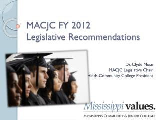 MACJC FY 2012  Legislative Recommendations