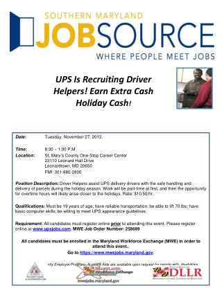 UPS Is Recruiting Driver Helpers! Earn Extra Cash Holiday Cash !