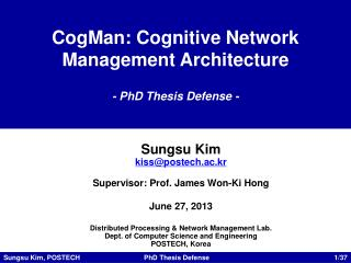 CogMan : Cognitive Network Management Architecture - PhD Thesis Defense -