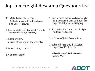 Top Ten Freight Research Questions List