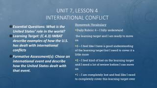 Unit 7, Lesson 4 International Conflict