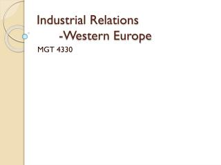 Industrial Relations -Western Europe