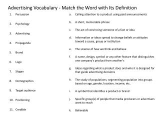 Advertising Vocabulary - Match the Word with Its Definition