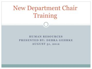 New Department Chair Training