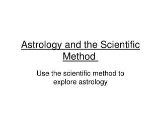 Astrology and the Scientific Method