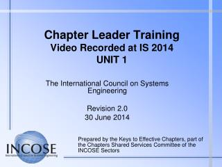 Chapter Leader Training Video Recorded at IS  2014 UNIT 1