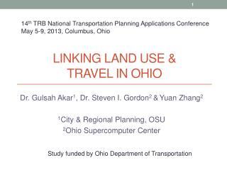 Linking Land Use &  Travel  in Ohio